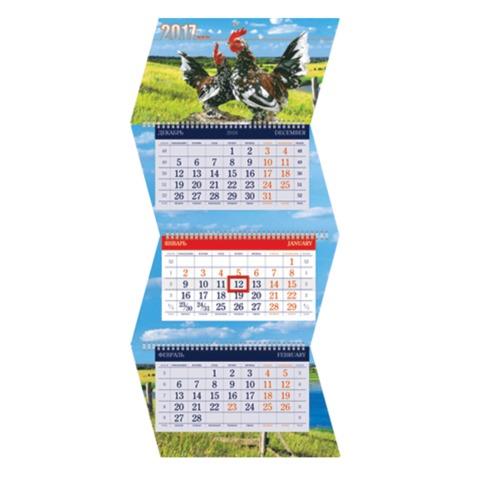 Календарь квартальный на 2017 г., HATBER, Креатив, 3-х блочный, на 3-х гребнях, «Год Петуха», 3Кв3гр3 15422