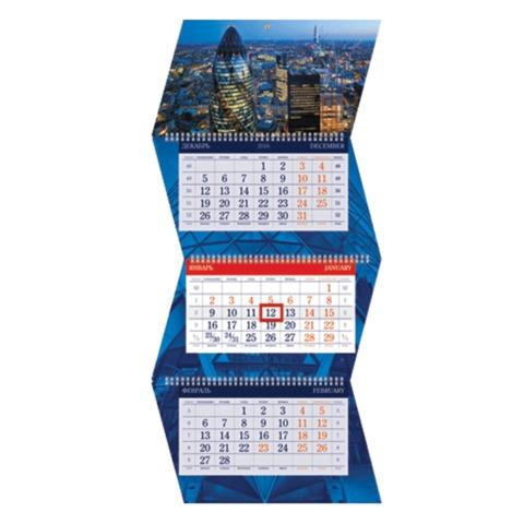 Календарь квартальный на 2017 г., HATBER, Креатив, 3-х блочный, на 3-х гребнях, «Мегаполис»