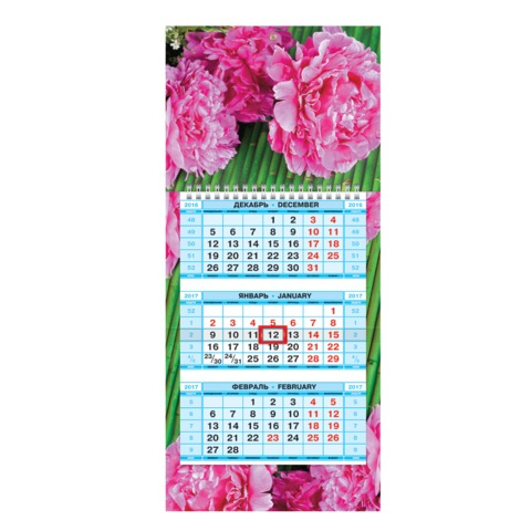 Календарь квартальный на 2017 г., HATBER, Мини, 3-х блочный, на 1-м гребне, «Чудесные цветы»