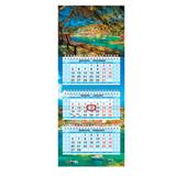 Календарь квартальный на 2017 г., HATBER, Мини, 3-х блочный, на 3-х гребнях, «Яркая природа»