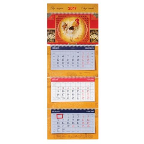 Календарь квартальный на 2017 г. HATBER, СуперЛюкс, 3-х блочный, на 4-х гребнях, «Год Петуха»
