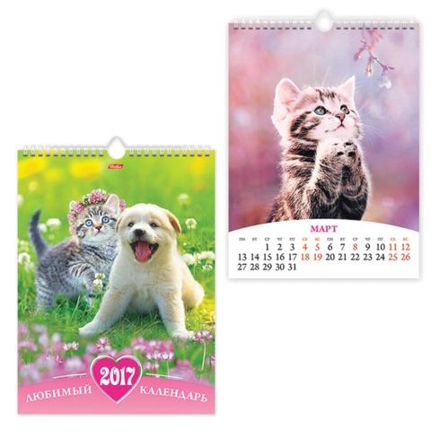 Календарь на гребне с ригелем на 2017 г., 22×30 см, HATBER, 6 л., «Любимый календарь»