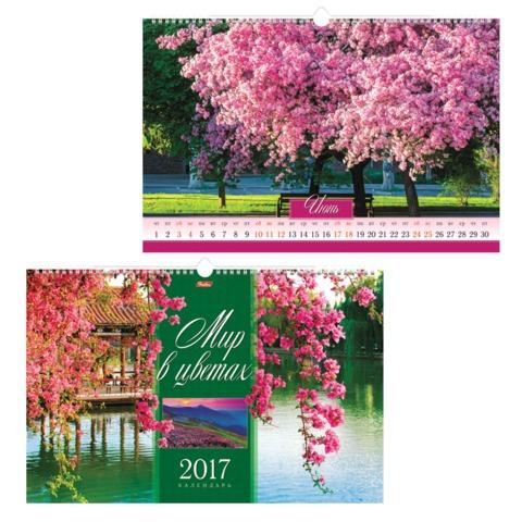 Календарь на гребне с ригелем на 2017 г., 30×45 см, HATBER, 6 л., «Мир в цветах»