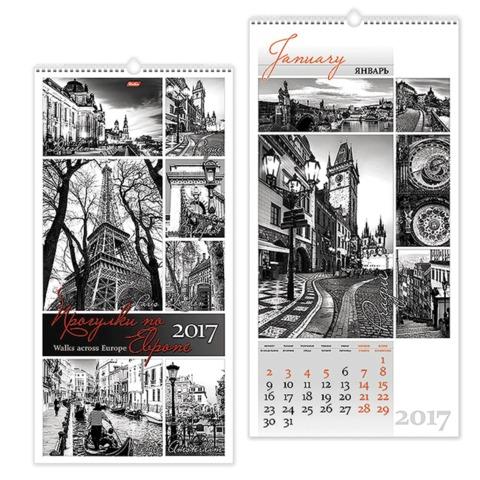 Календарь на гребне с ригелем на 2017 г., 30×60 см, HATBER, 6 л., «Европа»
