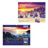Календарь на гребне с ригелем на 2017 г., 45×60 см, HATBER, 6 л., «Природа»