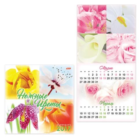 Календарь настенный перекидной на 2017 г., 6 л., 30×30 см, HATBER, «Нежные цветы»