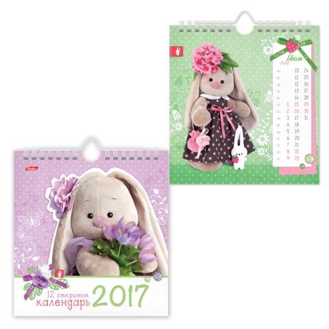 Календарь-домик на 2017 г., HATBER, на гребне с ригелем, 160×170 мм, «Зайка Ми»