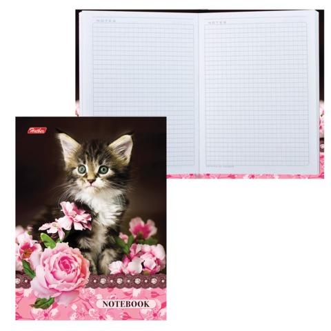 Блокнот 7БЦ, А6, 80 л., с поролоном, HATBER, «Котенок в цветах», 80ББп6В1 14064