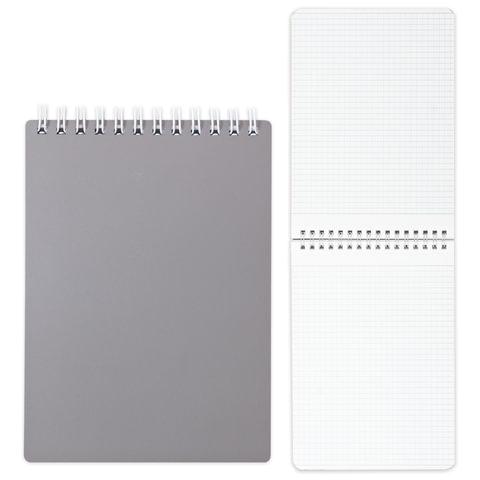 Блокнот А5, 80 л., гребень, пластиковая обложка, HATBER, «Серый», 145×205 мм, 80Б5В1гр 03414