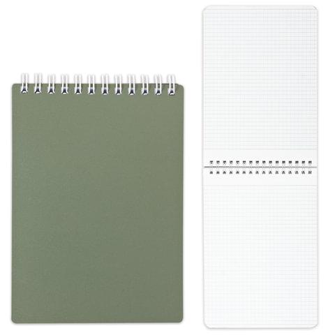 Блокнот А5, 80 л., гребень, пластиковая обложка, HATBER, «Темно-зеленый», 145×205 мм