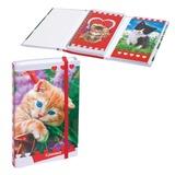 Записная книжка+блокнот, А6, 80+50 л., гребень/<wbr/>склейка, на резинке, HATBER, «Котята», 80+50ЗКт6Вгр 14059