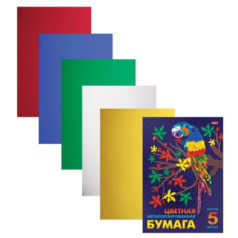 Цветная бумага, А4, металлизированная, 5 листов, 5 цветов, HATBER, «Попугай», 195×280 мм