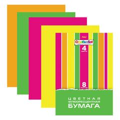 Цветная бумага, А4, флуоресцентная, 8 листов, 4 цвета, HATBER «Creative», 195×285 мм, 8Бц4ф 14352