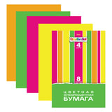Цветная бумага, А4, флуоресцентная, 8 листов, 4 цвета, HATBER, «Creative», 195×285 мм, 8Бц4ф 14352