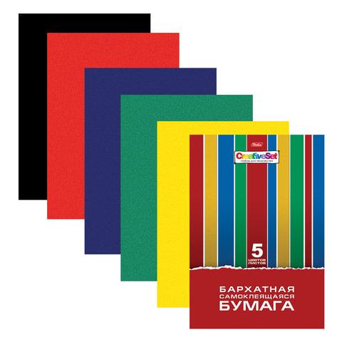 Цветная бумага, А4, бархатная, самолеящаяся, 5 листов, 5 цветов, HATBER, «Creative», 194×280 мм