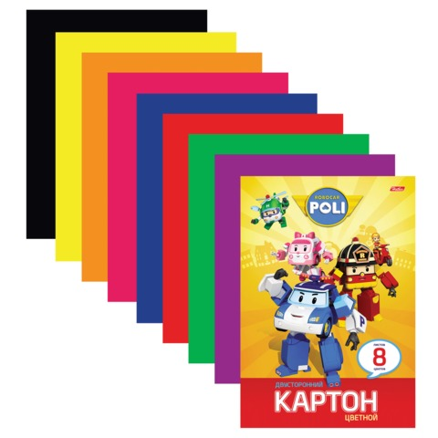 Цветной картон, А4, мелованный, двусторонний, 8 листов, 8 цветов, HATBER, «Robocar», 195×280 мм