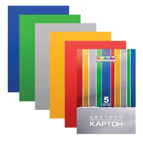 """Цветной картон, А4, металлизированный, 5 листов, 5 цветов, HATBER, """"Creative"""", 195х280 мм, 5Кц4мт 14321"""