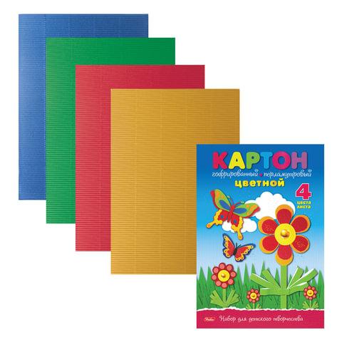 """Цветной картон, А4, гофрированнный, перламутровый, 4 цвета, 230 г/м2, HATBER """"Полянка"""", 4Кц4гпл 14353"""