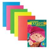 Цветной картон, А4, гофрированный, флуоресцентный, 5 листов, 5 цветов, HATBER, «Котенок», 195×285 мм