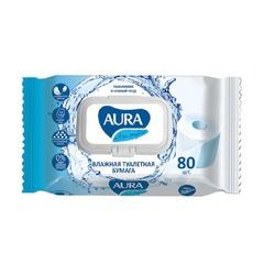 Бумага туалетная влажная 80 шт., AURA «Ultra comfort», деликатный уход, экстаркт алоэ, без спирта