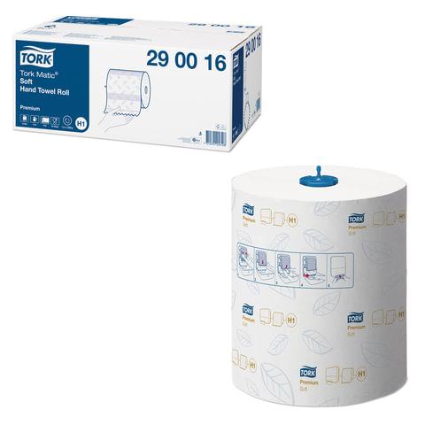 Полотенца бумажные рулонные TORK (H1) Matic, комплект 6 шт., Premium, 100 м, 2-слойные, белые, диспенсеры 602932, 601657