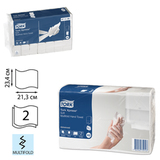 Полотенца бумажные 190 шт., TORK (H2) Advanced, 2-слойные, белые, 21×23 см, Multifold, диспенсеры 602935-940
