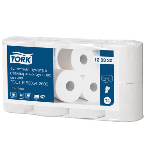 Бумага туалетная TORK (Т4), 2-х слойная, спайка 8 шт.х23 м, Premium, диспенсеры 601826, 602945, 120320