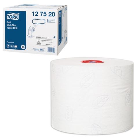 Бумага туалетная 90 м, TORK (Т6), комплект 27 шт., Premium, 2-х слойная, белая, диспенсеры 601568, 601665