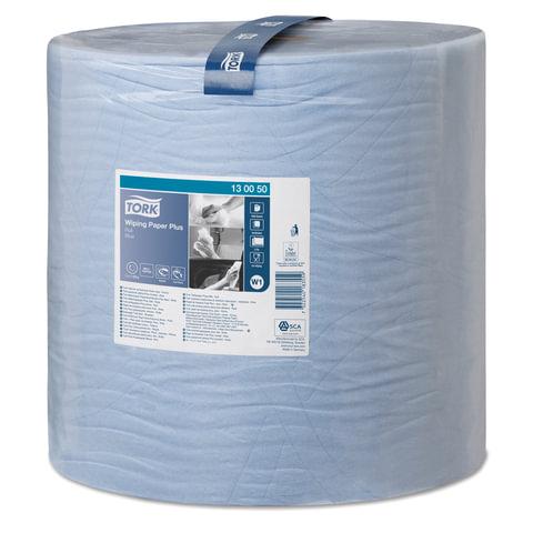 Бумага протирочная TORK (W1), 1500 листов в рулоне, 34×36,9 см, 2-слойная, голубая, диспенсер 602998 — 999, 601678