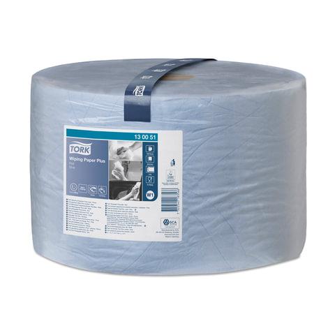 Бумага протирочная TORK (W1), 1500 листов в рулоне, 23,5×34 см, 2-слойная, голубая, диспенсер 602998 — 999, 601678