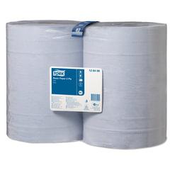 Бумага протирочная TORK (Система W1), комплект 2 шт., 1000 листов в рулоне, 34×36,9 см, 2-слойная, голубая, 128408