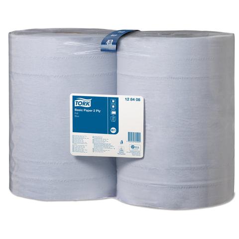 Бумага протирочная TORK (Система W1), комплект 2 шт., 1000 листов в рулоне, 34х36,9 см, 2-слойная, голубая, 128408