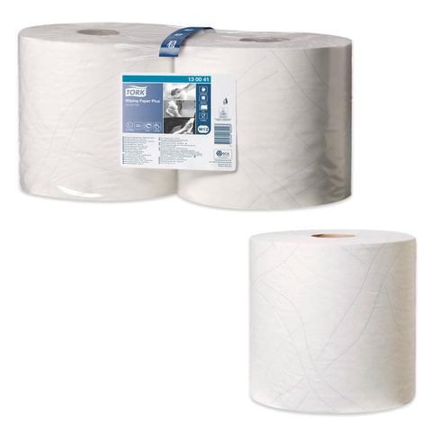 Бумага протирочная TORK (Система W1, W2), комплект 2 шт., Plus, 750 листов в рулоне, 23,5х34 см, 2-слойная, 130041