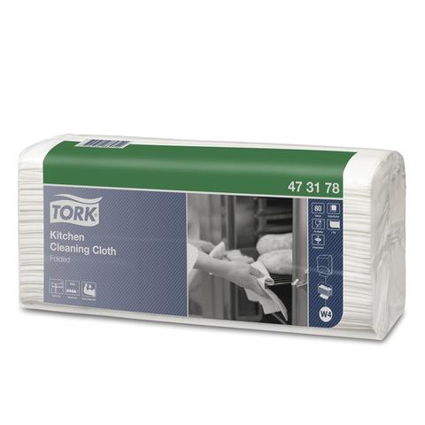 Протирочный нетканый материал 80 шт., TORK (Система W4) Premium, комплект 5 шт., белый, 35,5х42,8 см, 473178