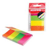 Закладки самоклеящиеся KORES, неоновые, бумажные, 20×50 мм, 4 цвета х 50 шт., европодвес