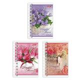 Записная книжка, А7, 67×102 мм, 40 л., гребень, обложка мелованный картон, HATBER, «Магия цветов»