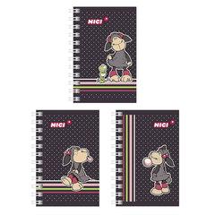 Записная книжка А7, 67×102 мм, 40 л., гребень, обложка мелованный картон, HATBER, «Овечки (NICI)», 40ЗК7В1гр