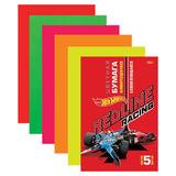 Цветная бумага, А4, самоклеящаяся флуоресцентная, 5 листов, 5 цветов, HATBER, «Машинки», 194×280 мм