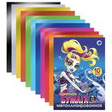 Цветная бумага, А4, металлизированная, 10 листов, 10 цветов, HATBER, «Монстры», 195×280 мм
