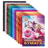 Цветная бумага, А4, голографическая, 10 листов, 10 цветов, HATBER, «Барби», 195×285 мм