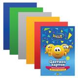Цветной картон, А4, металлизированный, 5 листов, 5 цветов, HATBER, «Колобанга», 195×280 мм