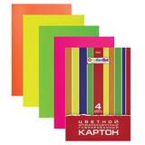 Цветной картон, А4, гофрированный флуоресцентный, 4 листа, 4 цвета, HATBER, «Creative Set», 195×285 мм, 4Кц4фг 05804