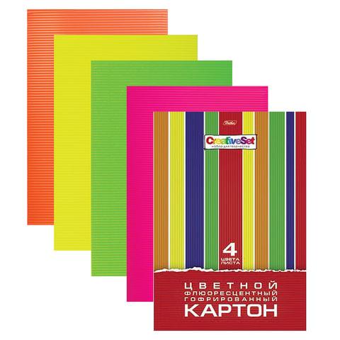 Цветной картон, А4, гофрированный флуоресцентный, 4 цвета, 230 г/м2, HATBER, 4Кц4фг 05804