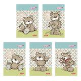 Блокнот А7, 48 л., склейка, 3-х цветный блок, HATBER, «Любимые мишки», 65×100 мм, 48Б7В1к