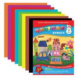 Цветная бумага А4, 14 листов, 8 цветов, АППЛИКА, 205×280 мм