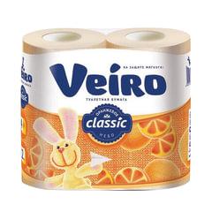 Бумага туалетная бытовая, спайка 4 шт., 2-х слойная (4×17,5 м), VEIRO Classic, оранжевая