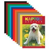 Цветной картон, А4, 195×290 мм, HATBER VK, мелованный, 10 листов, 10 цветов, «Белый щенок», 10Кц4 03414