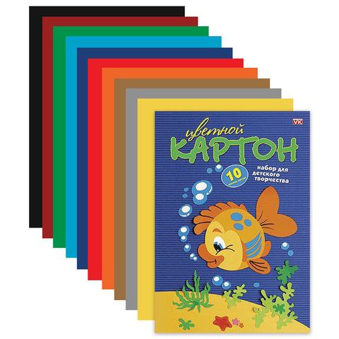 """Цветной картон, А4, 195х290 мм, HATBER VK, мелованный, 10 листов, 10 цветов, """"Рыбка"""", 10Кц4 03230"""