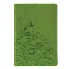 Бизнес-блокнот BRAUBERG, А5, 148×218 мм, «Feelings», кожзаменитель с тиснением, линия, 128 л., зелёный