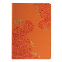 Бизнес-блокнот BRAUBERG, А5, 148×218 мм, «Orient», кожзаменитель с тиснением, клетка, 128 л., оранжевый